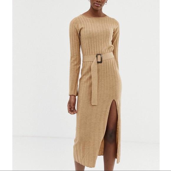 ASOS Knit Ribbed Camel Long Sleeve Midi Dress